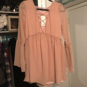 Long sleeve pink dress from Tobi